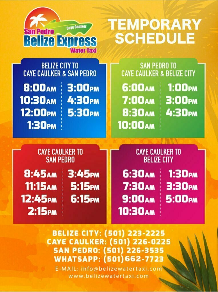 belize city to san pedro water taxi schedule