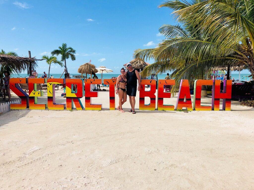 ambergris caye secret beach sign